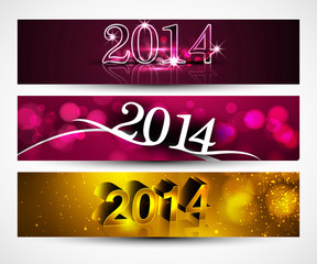 New year 2014 for shiny colorful headers and banners set design