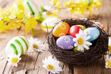 Easter colored eggs on wood - Fine Art prints