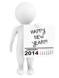 Character holding calendar January 2014 with Happy New Year Sign