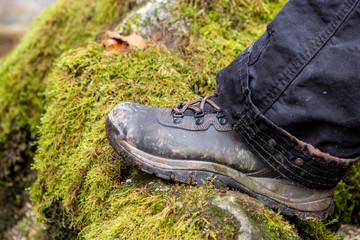 Closeup of a shoe that is standing on a rock