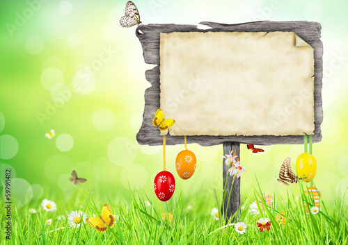 Easter concept with blank sign