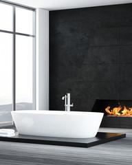 Contemporary bathroom interior with fireplace