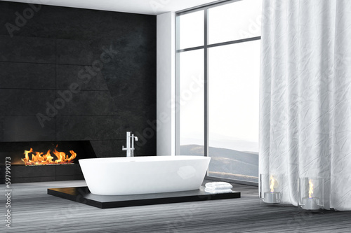 Contemporary bathroom interior with fireplace
