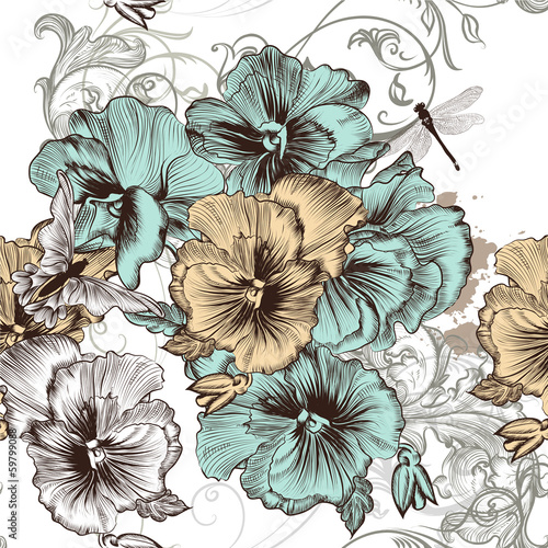 Beautiful seamless floral wallpaper pattern with flowers