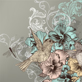 Elegant floral background with flowers and humming birds - 59799231