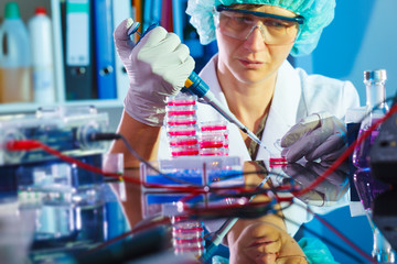 Woman in the microbiology laboratory