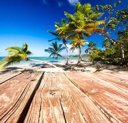 Bootssteg vor Karibischer Landschaft