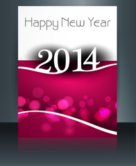 Template beautiful brochure new year 2014 colorful vector