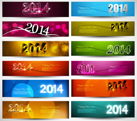 New year 2014 collection for colorful headers and banners set ve