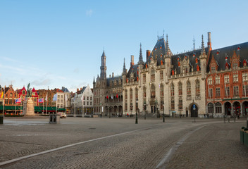 Market Square with city hall, Bruges