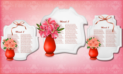Vector beautiful bouquets of lilies and roses in vases