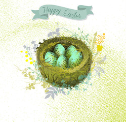 Spotted Eggs in Mossy Nest Easter Greeting