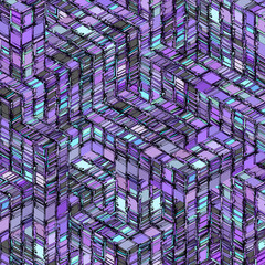 abstract striped cube blue purple gray backdrop