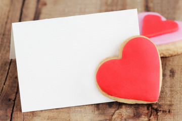 Valentine's greeting card with homemade heart shaped cookies