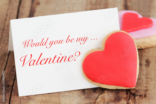Valentine's Day greeting card with homemade heart shaped cookies