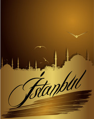 silhouette of Istanbul in golden color