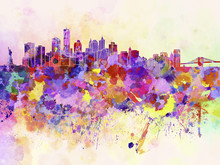 Papier Peint - New York skyline in watercolor background