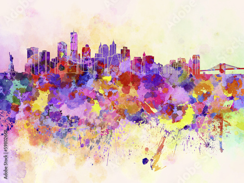 New York skyline in watercolor background - 59802668