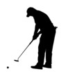 Golf Sport Silhouette - Golfer putting with rolling ball