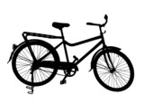 Detailed Silhouette Image of a Bicycle on its Stand