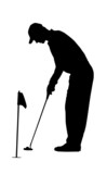 Golf Sport Silhouette - Golfer on practicing green