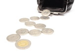 Coins with black leather purse. White background