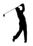 Golf Sport Silhouette - Golfer finished Tee-shot
