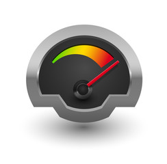 Chrome speedometer illustration.