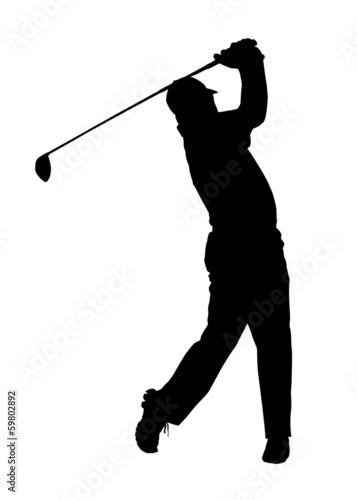 Fototapeta Golf Sport Silhouette - Golfer finished Tee-shot