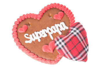 Lebkuchenherz mit Stoffherz - Superpapa
