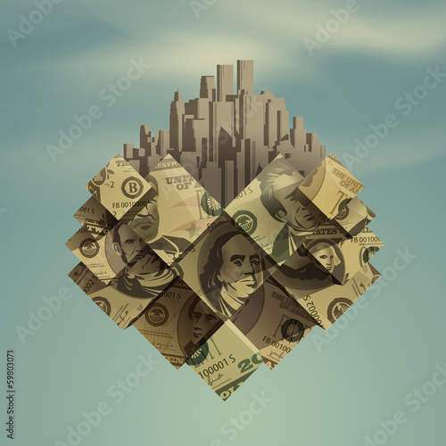 Heart. Dollar. City. Vector format