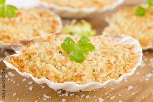 Scallop & Prawn Gratin with thermidor sauce