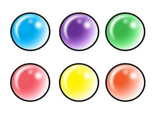 set di 6 pulsanti diversi colori