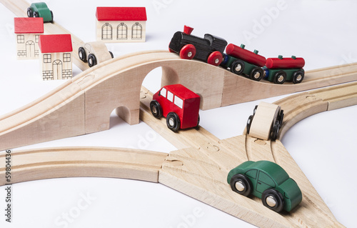 heavy traffic near small toy town