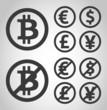 Bitcoin, euro, dollar, font and yen money icons