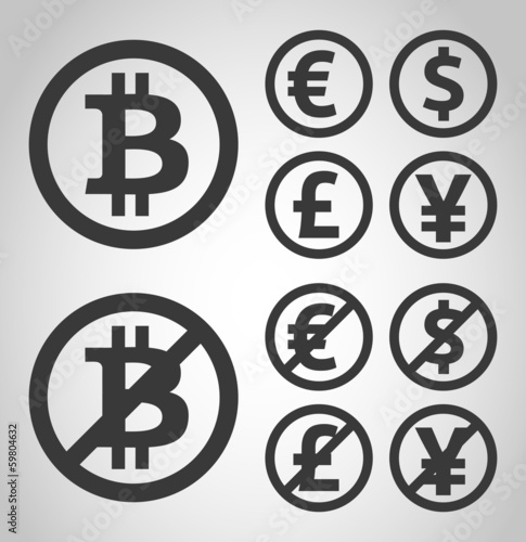 Bitcoin, euro, dollar, font and yen money icons