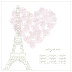 Romantic card with eiffel tower and heart.