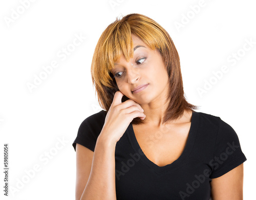 Woman avoiding eye contact, feels guilty and sorry for situation