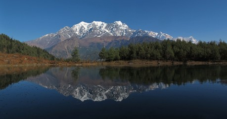 Idyllic Lake Sekong and Nilgiri, Nepal