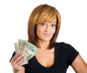 Happy young woman holding dollar bills, money, cash