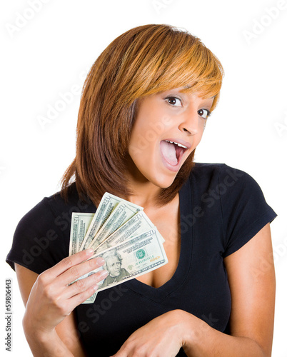 Excited happy woman holding dollar bills