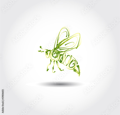 green bee icon vector