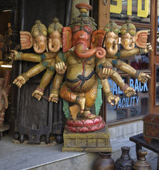 India, Delhi, wooden hindu Ganesh God statue