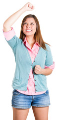 Exited happy young woman celebrating success
