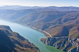 Hillsides over Danube river at Djerdap gorge and national park