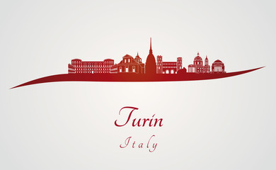 Turin skyline in red