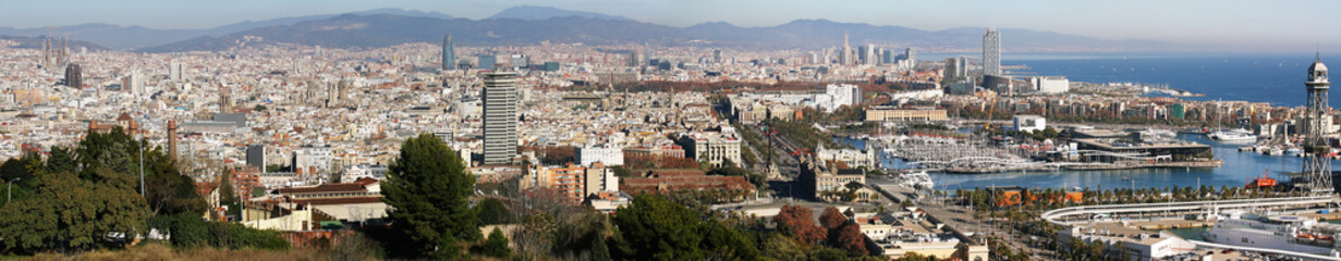 Barcelona cityscape distant view