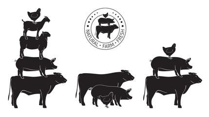 Animals Pyramide, natural, farm,  fresh on white board