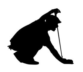 Golf Sport Silhouette - Golfer kneeling