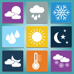 Weather icons set in color